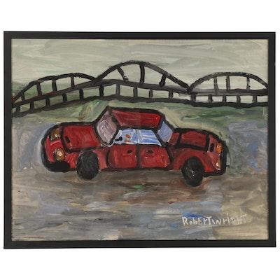 Robert Wright Folk Art Acrylic Painting of Red Car, Late 20th Century