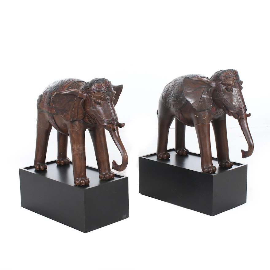 African Carved Wood Elephant Sculptures on Pedestals