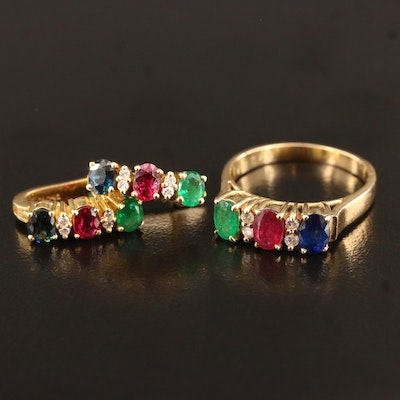 14K Ring and 18K Earrings with Sapphire, Emerald, Ruby and Diamonds