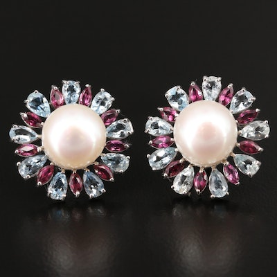 Sterling Silver Pearl, Aquamarine and Rhodolite Garnet Button Earrings