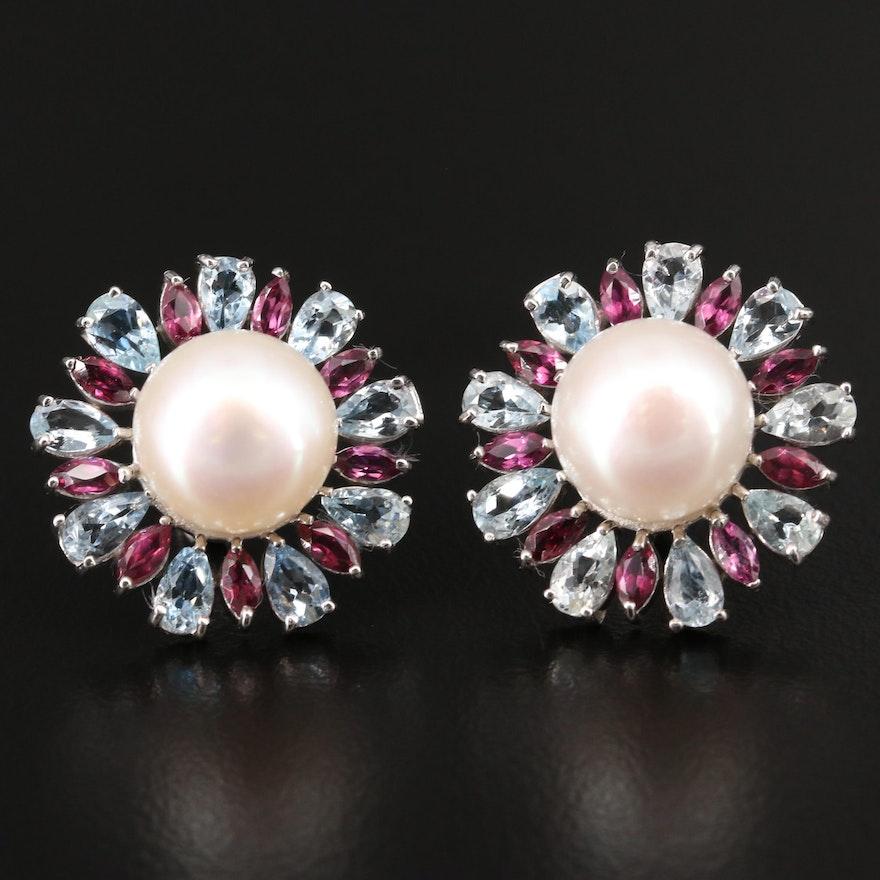 Sterling Silver Pearl, Aquamarine and Rhodolite Garnet Button Earrings