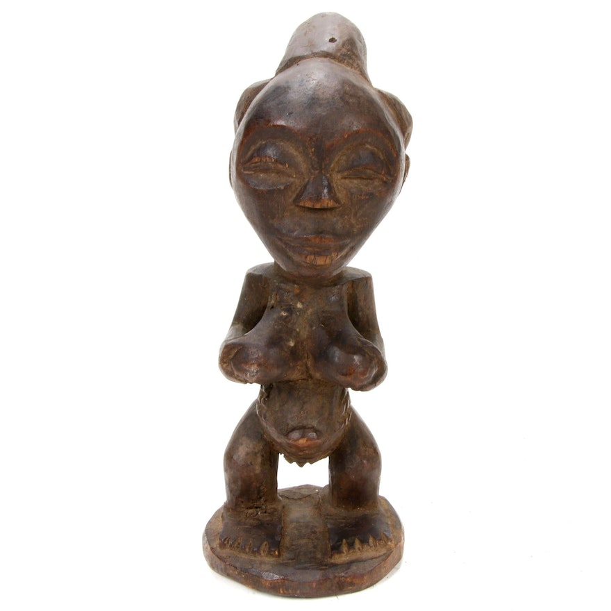 Luba Style Hand-Carved Wooden Maternity Figure, Democratic Republic of the Congo