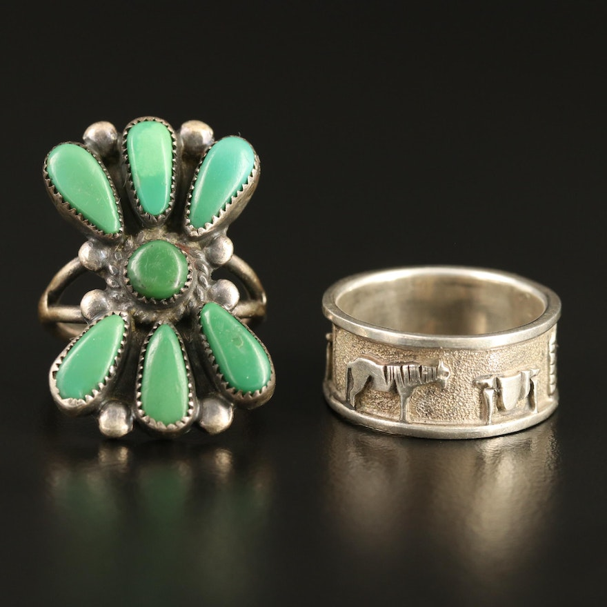 Serpentine Ring and Bill & Linda Laweka Zuni Petit Point and Signed Band