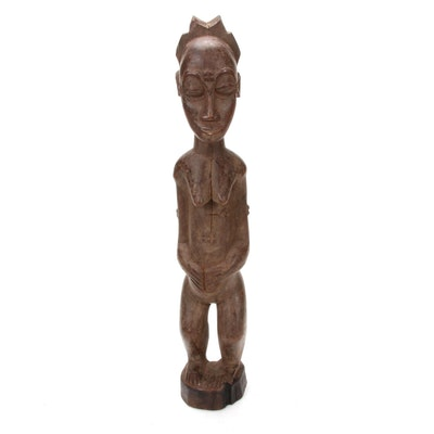 Baule Hand-Carved Wooden Female Figure, Côte d'Ivoire