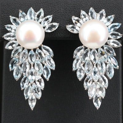 Sterling Silver Pearl and Aquamarine Button Earrings