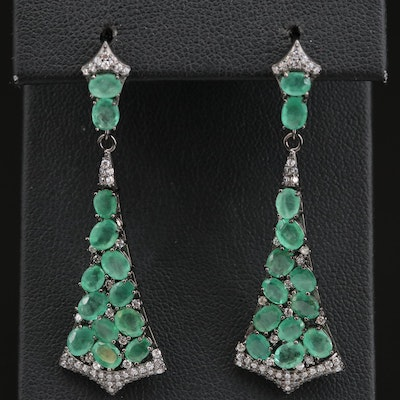 Sterling Emerald and Cubic Zirconia Fan Motif Dangle Earrings
