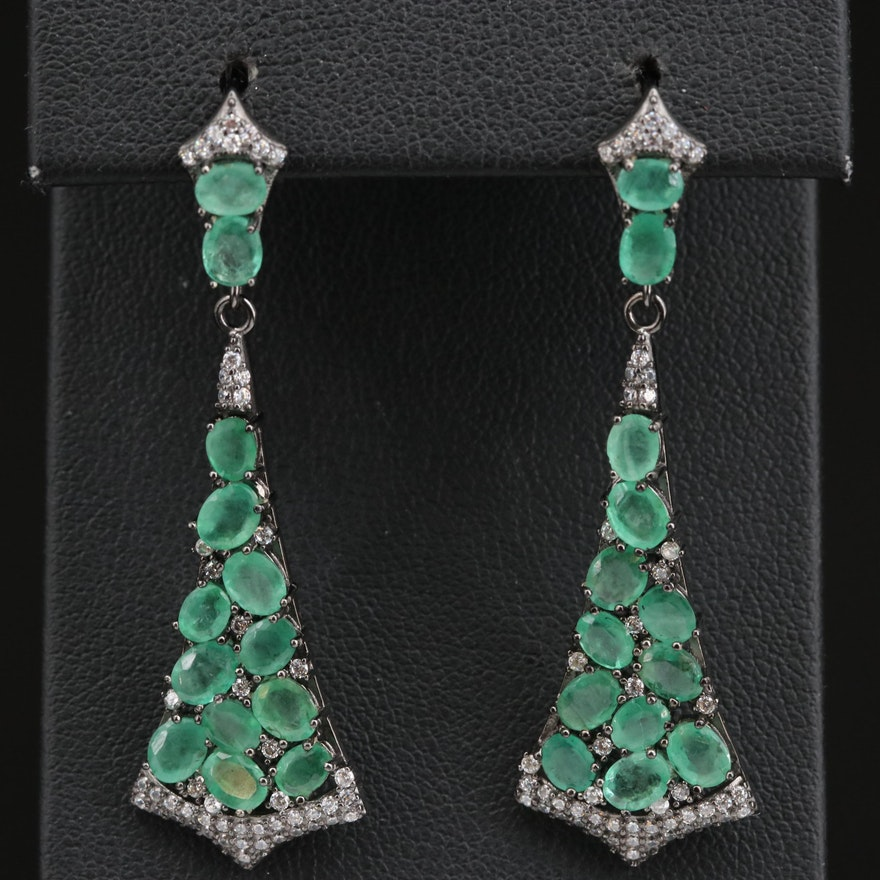 Sterling Emerald and Cubic Zirconia Fan Motif Dangle Earrings