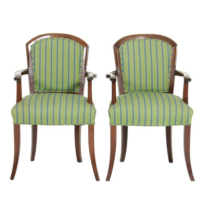 Pair of Federal Style Mahogany and Custom-Upholstered Open Armchairs