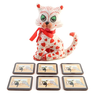 "Adorable Toy Corporation ""Love Cat"" and Other Cat Themed Coasters"