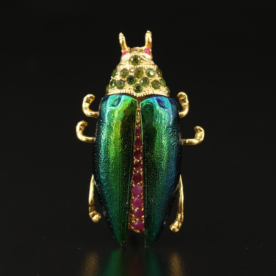 Sterling Silver Beetle Brooch with Ruby and Peridot