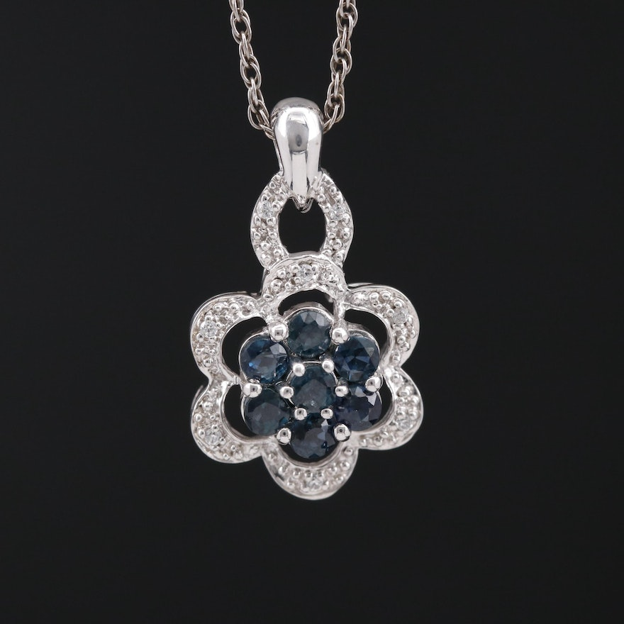 Sterling Silver Sapphire and Cubic Zirconia Floral Pendant Necklace