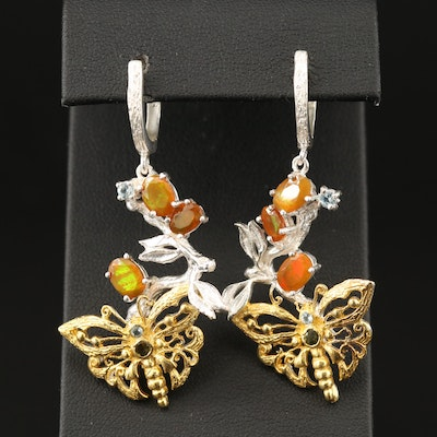 Sterling Opal, Topaz and Tourmaline Butterfly Motif Earrings