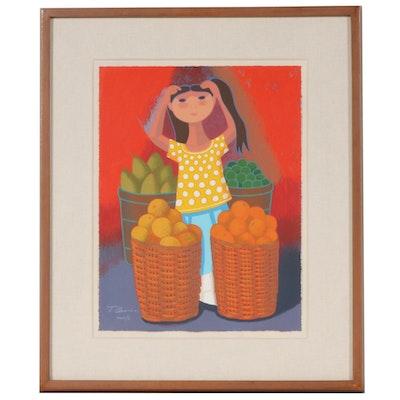 "Trinidad Osorio Serigraph Print ""Fruit Market,"" 1991"