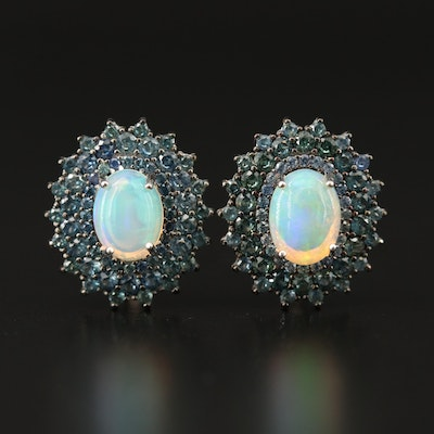 Sterling Silver Opal and Pavé Sapphire Halo Earrings