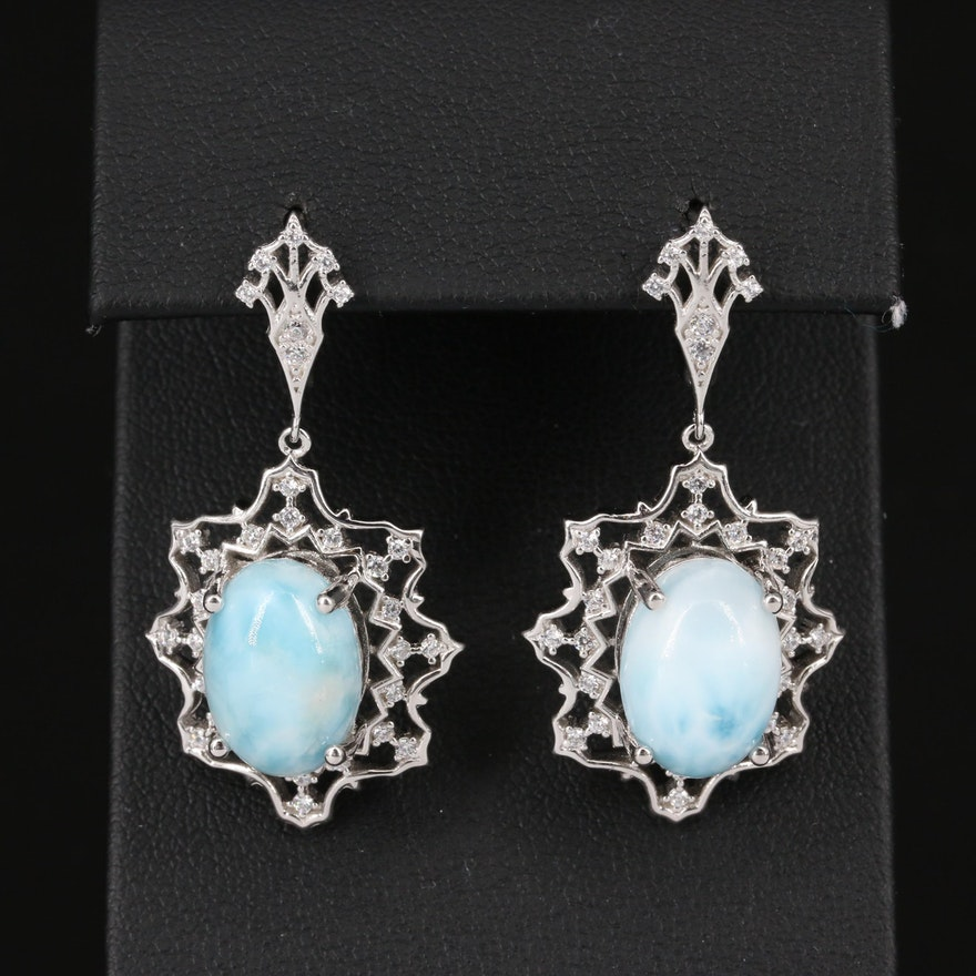 Sterling Silver Larimar and Cubic Zirconia Dangle Earrings