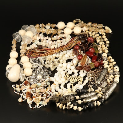 Necklaces and Zebra Brooch Including Bone, Agate and Mother of Pearl