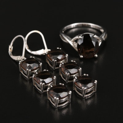 Sterling Silver Smoky Quartz Ring and Dangle Earrings