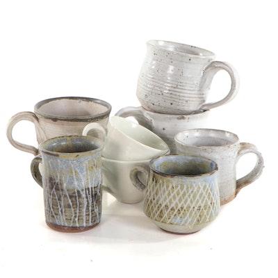 John Tuska Glazed Stoneware Mugs, Mid to Late 20th Century
