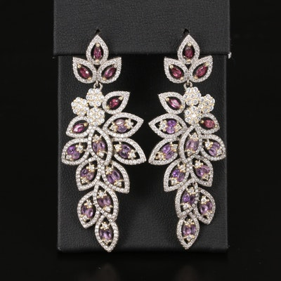 Sterling Rhodolite Garnet, Amethyst and Cubic Zirconia Dangle Earrings