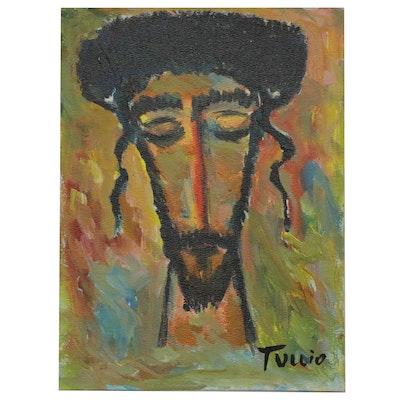 Charles Tullio Acrylic Painting of Hasidic Jewish Man