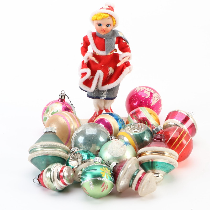 Christmas Tree Glass Ornaments with Resin Girl Skater