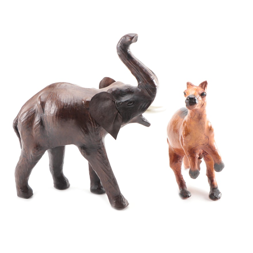 Leather Covered Carved Elephant and Kangaroo Figurines