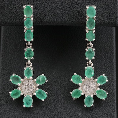Sterling Emerald and Cubic Zirconia Floral Dangle Earrings