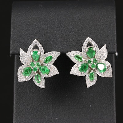 Sterling Silver Tsavorite and Cubic Zirconia Floral Button Earrings