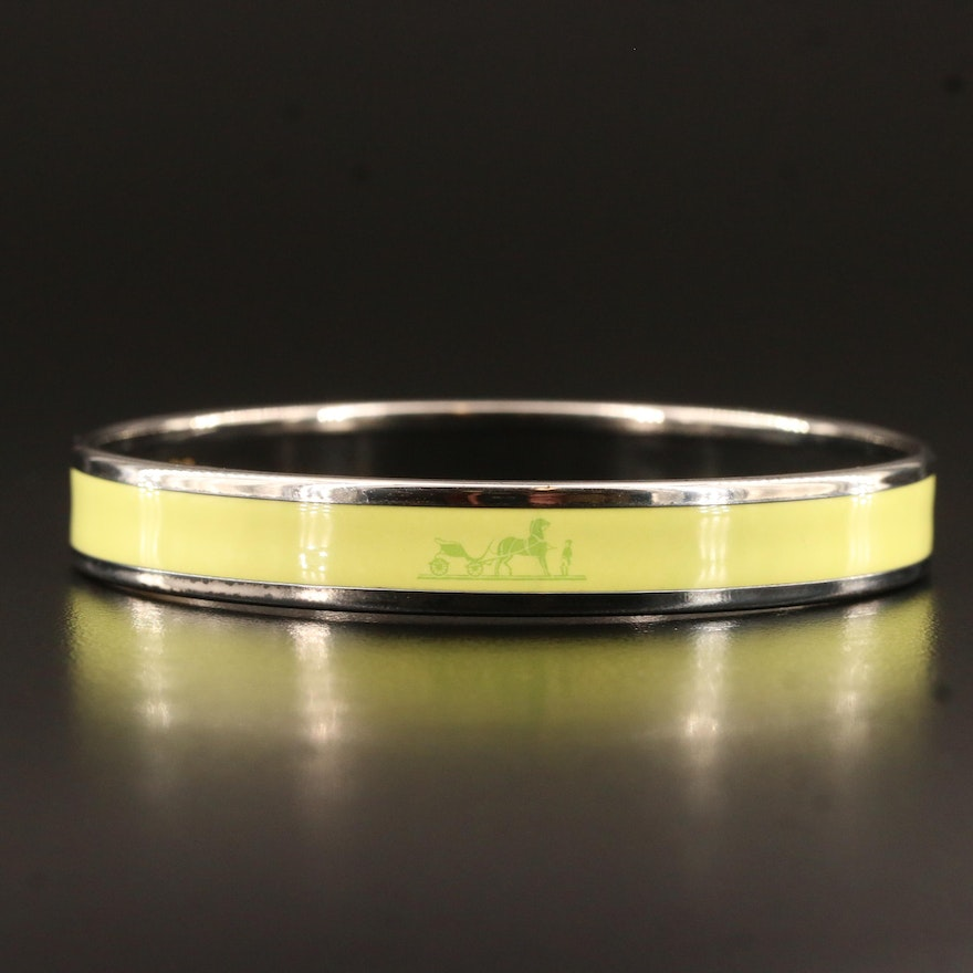 Hermès 'Caleche' Sterling Silver and Enamel Bangle