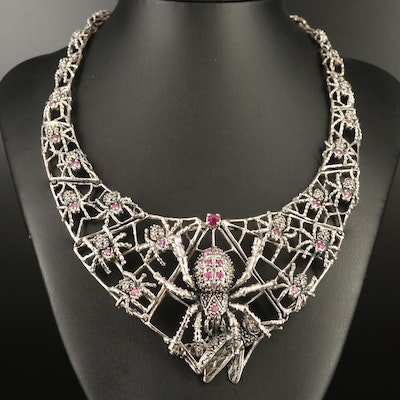 Sterling Silver Ruby and Marcasite Spider and Web Bib Necklace