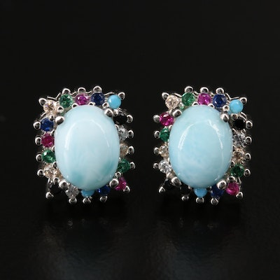 Sterling Silver Larimar, Ruby and Cubic Zirconia Halo Stud Earrings