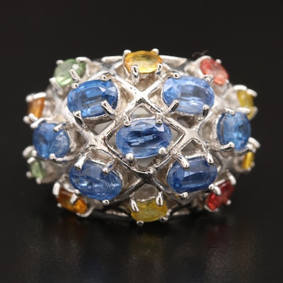 Sterling Silver Sapphire Cluster Ring