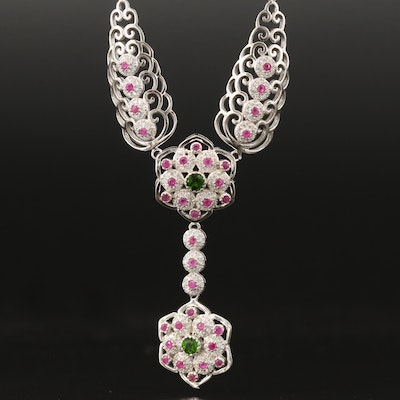 Sterling Diopside, Ruby and Cubic Zirconia Mandala Drop Necklace