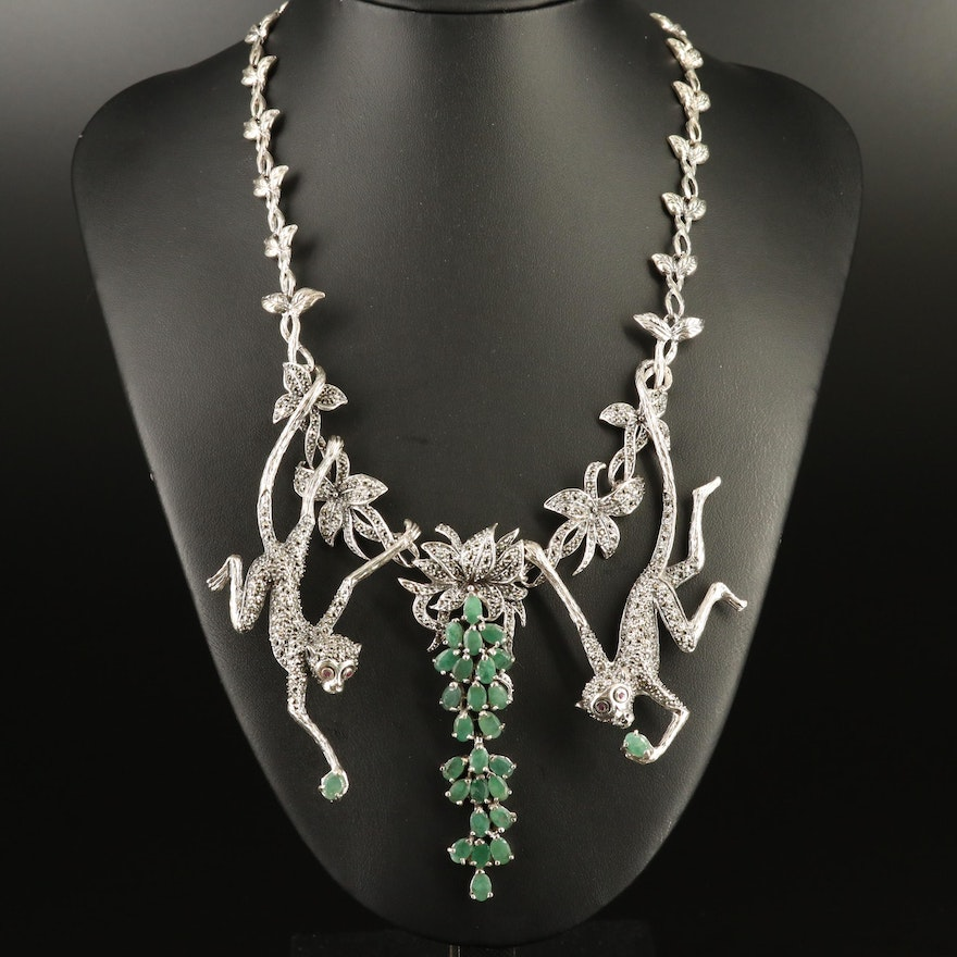 Sterling Emerald, Ruby and Marcasite Monkey Necklace