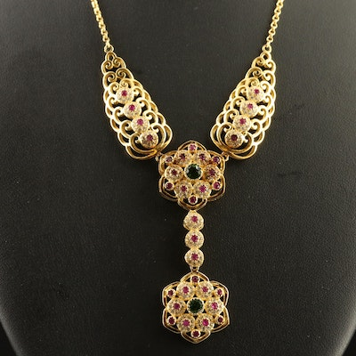 Sterling Silver Diopside, Ruby and Cubic Zirconia Y Necklace