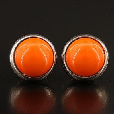 Hermès Orange Enamel Stud Earrings