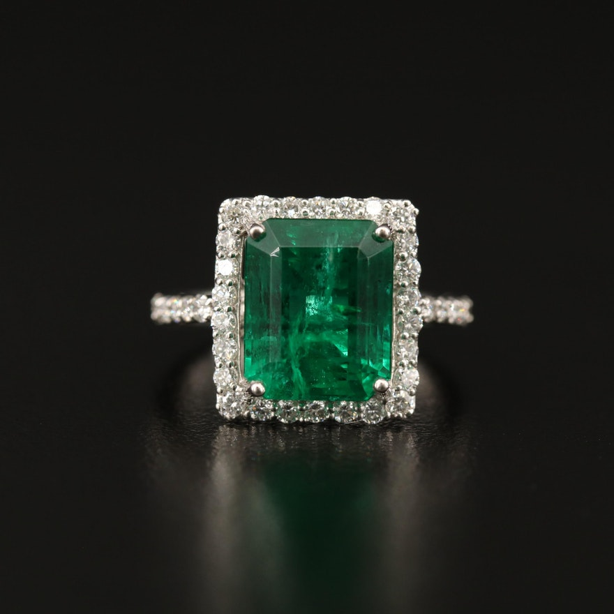 Platinum 6.05 CT Emerald and Diamond Ring with AGL Report