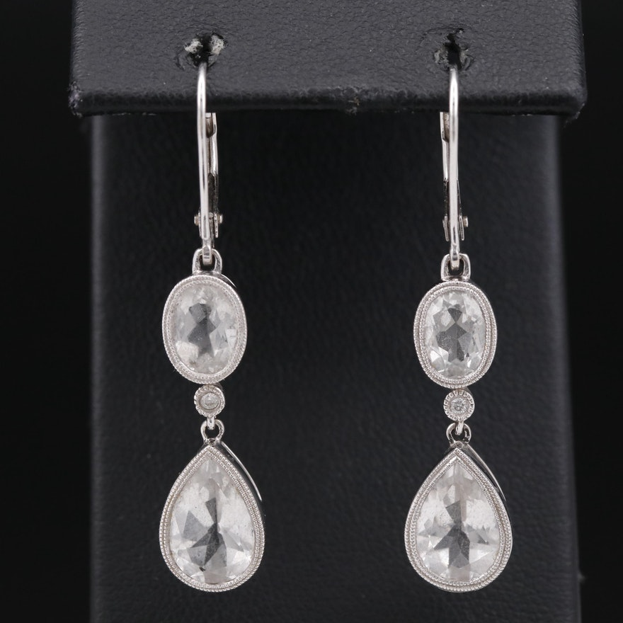 14K Sapphire Dangle Earrings with Diamond Accents