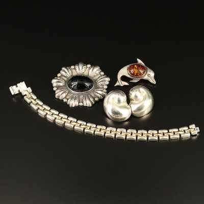 Selection of Sterling Jewelry Featuring Alicia Plata and Dolphin Amber Brooch