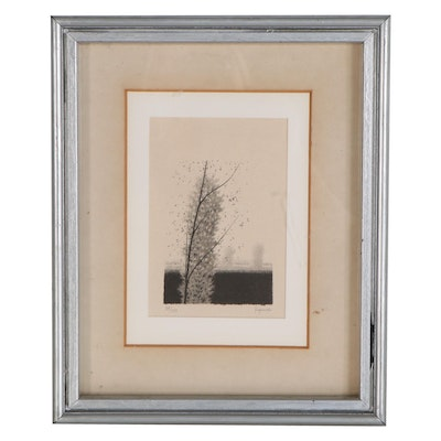 Robert Kipniss Lithograph of Lone Tree, Late 20th Century