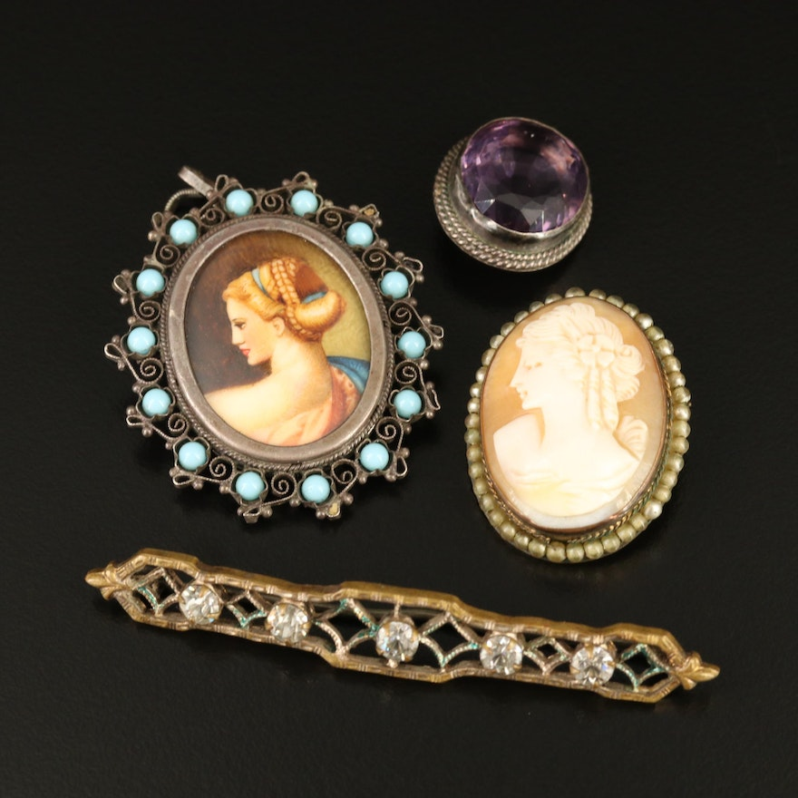 Vintage and Antique Sterling and 800 Silver Cameo Brooches and Pendant