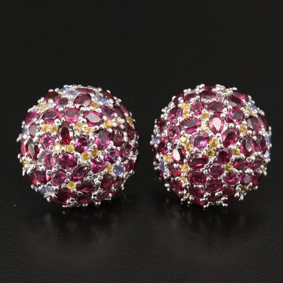 Sterling Silver Rhodolite Garnet, Sapphire and Tanzanite Dome Button Earrings