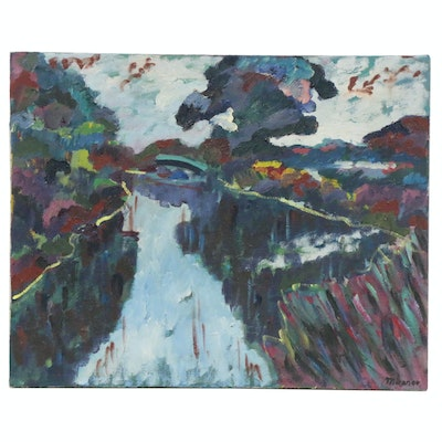 Jerald Mironov Abstract Oil Painting, Late 20th Century