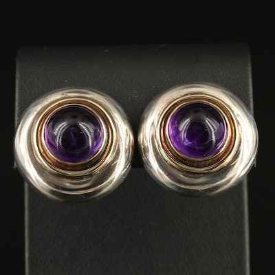 Sterling Silver Amethyst Button Earrings