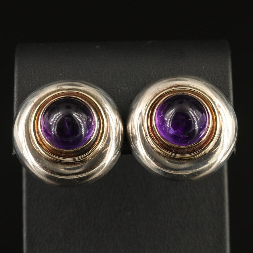 Sterling Silver Amethyst Button Earrings