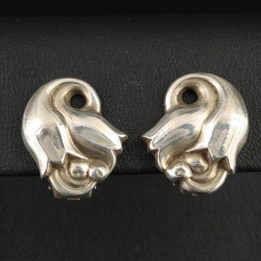 Georg Jensen Sterling Tulip Clip-On Button Earrings