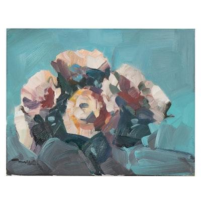 "Jose Trujillo Oil Painting ""Roses"", 2020"