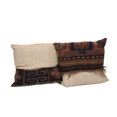 Handwoven Turkish Kilim and Handwoven Fabric Throw Pillows