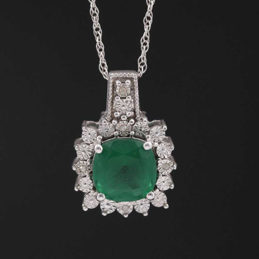 Sterling Silver Glass and Diamond Halo Pendant Necklace