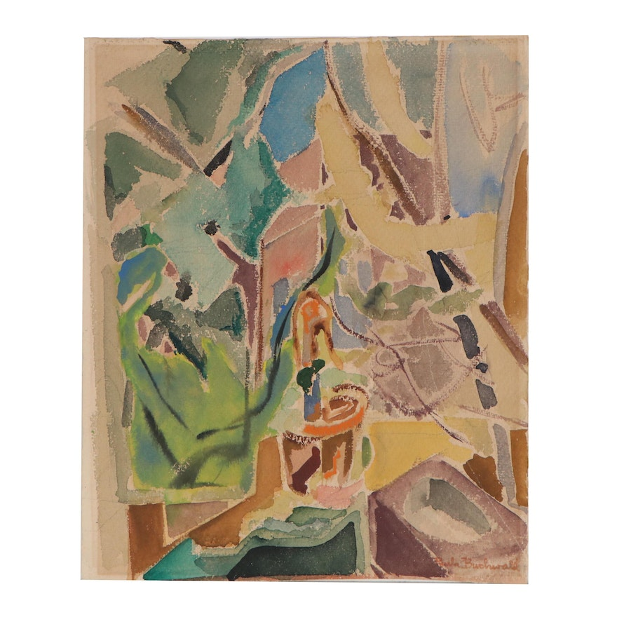 Paula Buchwald Watercolor Painting of Abstract Composition, 20th Century